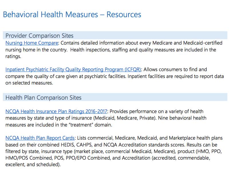 Behavioral Health Measures – Resources