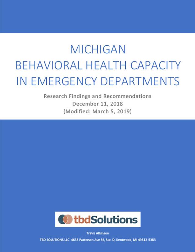 Michigan Behavioral Health Capacity In Emergency Departments